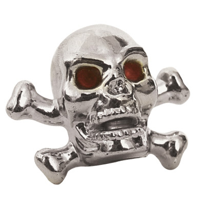 Trik Topz Skull and Bones Valve Caps  Chrome