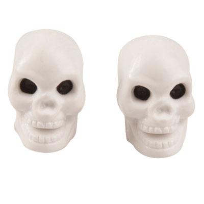 Trik Topz Skull Head Valve Caps  White