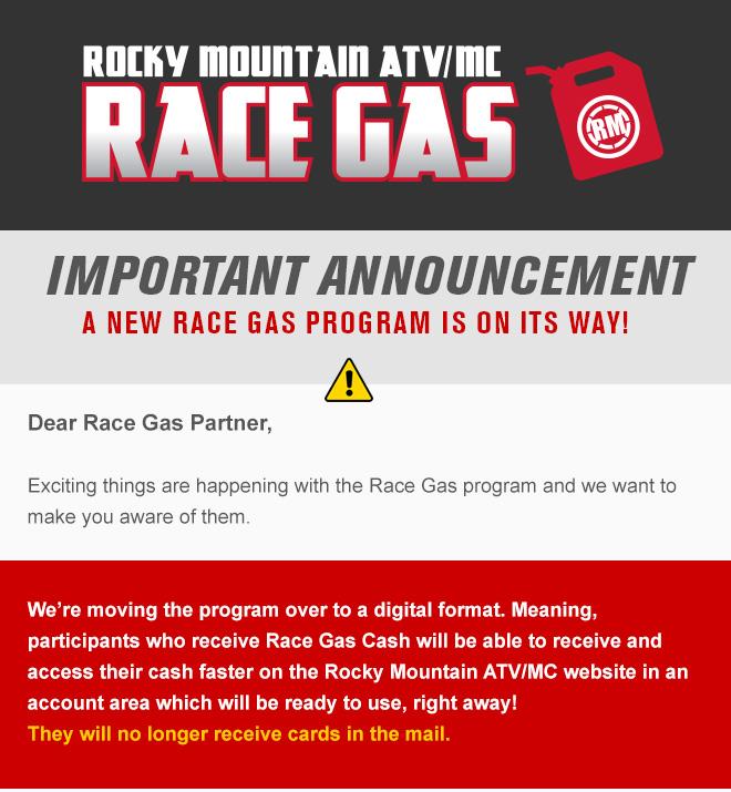 Changes for the 2018 Rocky Mountain ATV/MC Race Gas Program