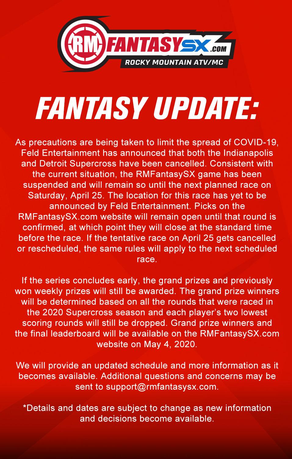 2020 RMFantasySX Season Suspended Update