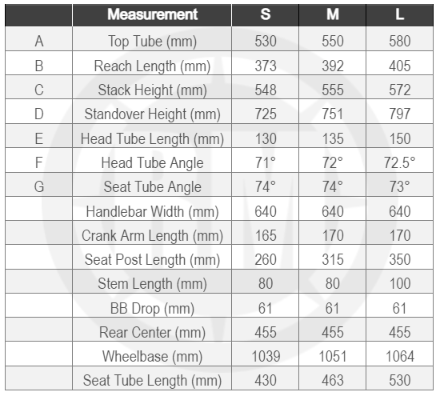 Yamaha Cross Core Power Assist Bicycle Size Chart