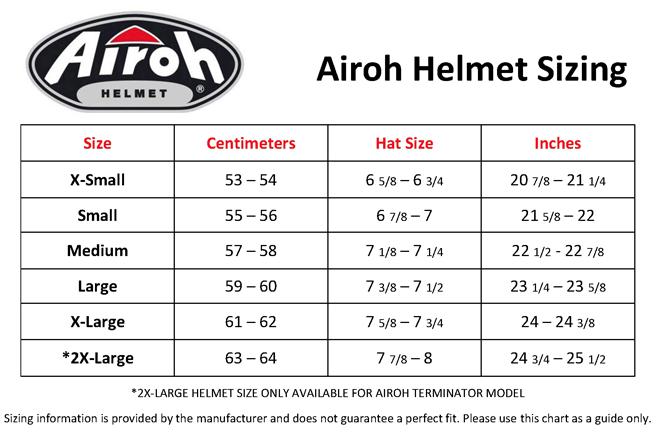 Airoh Helmet Sizing Chart