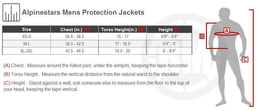 Alpinestars Mens Protection Jacket Size Chart
