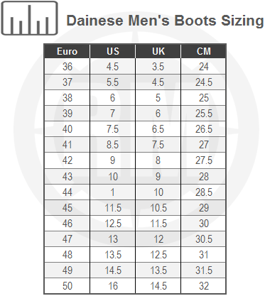 Dainese Torque D1 Out Air Boots Size Chart