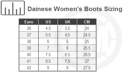 Dainese Women's Street Biker Air Riding Shoes Size Chart