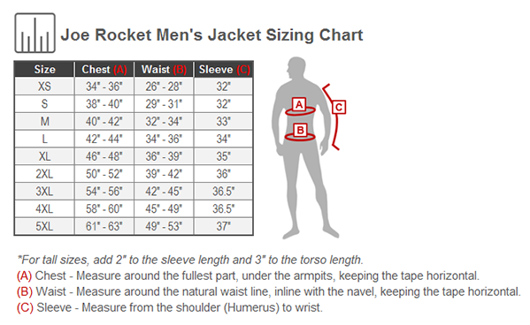 Joe Rocket U.S. Army Alpha X Jacket Size Chart
