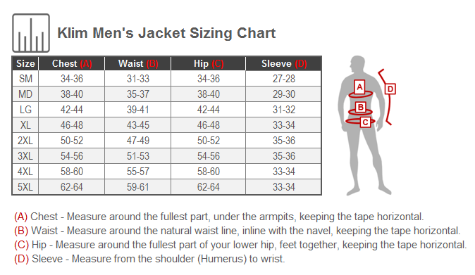 Klim Induction Jacket Size Chart