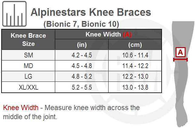 Alpinestars Bionic 10 Carbon Knee Brace Pair Size Chart