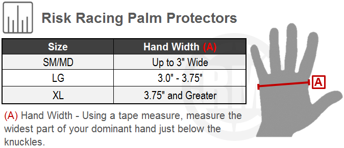 Risk Racing Palm Protectors Size Chart