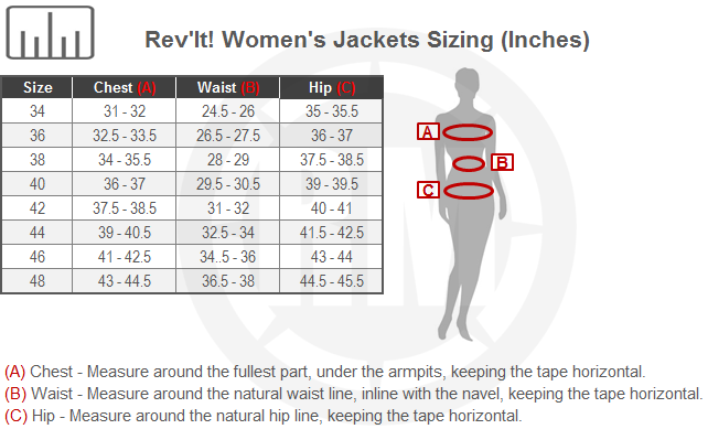 REV'IT! Women's Voltiac 2 Jacket Size Chart