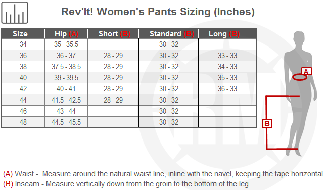 Rev'It Women's Motorcycle Pants Size Chart