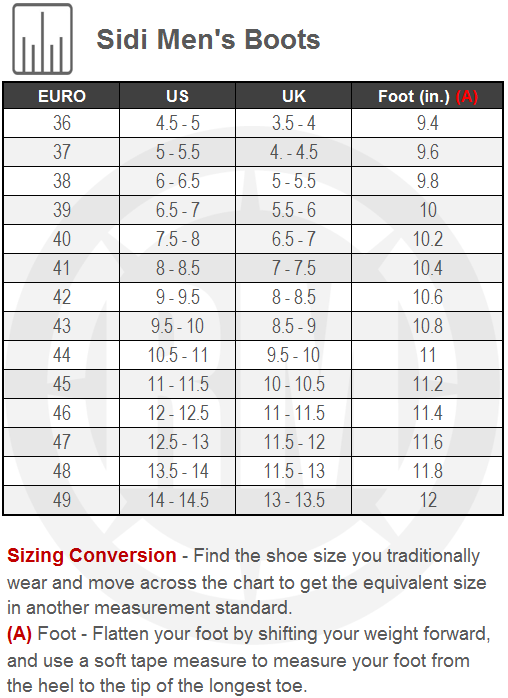 Sidi Mens Motorcycle Boots Size Chart