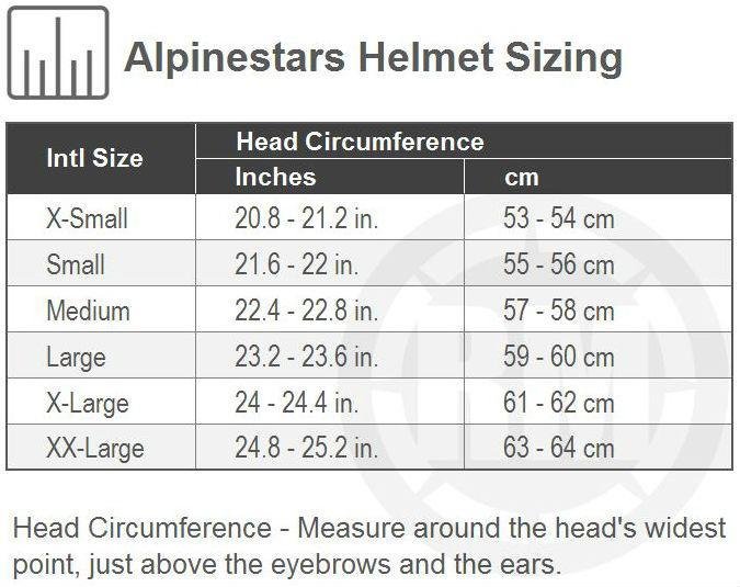 Alpinestars Helmet Size Chart