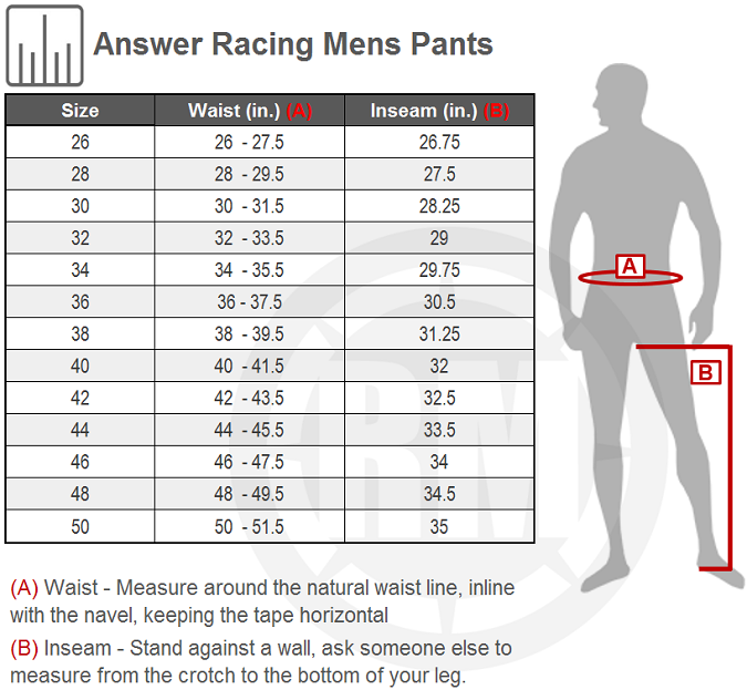Answer Racing Syncron 18.5 Pant Size Chart