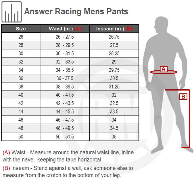 Answer Racing Elite 18.5 Pant Size Chart