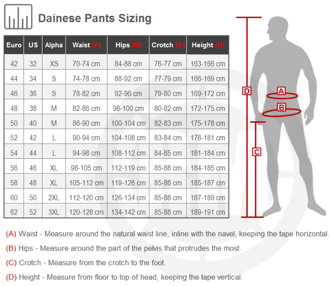 Dainese Alien Leather Pants Size Chart