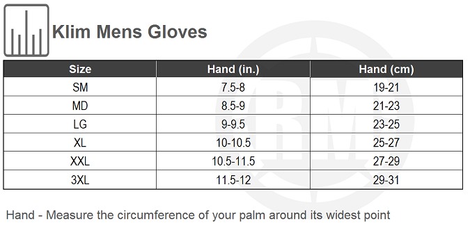 KLIM Mens Gloves Size Chart