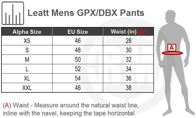 Leatt GPX 5.5 I.K.S Pants Size Chart