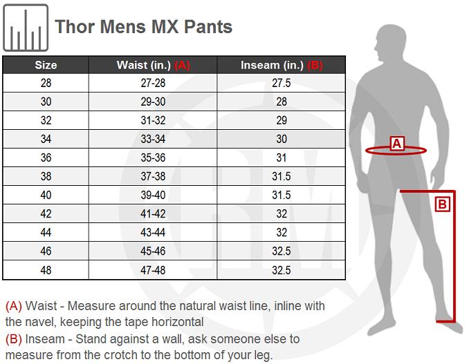 Thor Pulse KITN Pant Size Chart