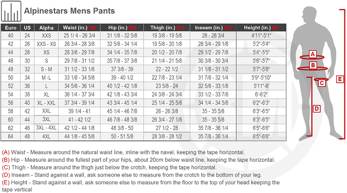 Alpinestars Men's Motorcycle Pants Size chart