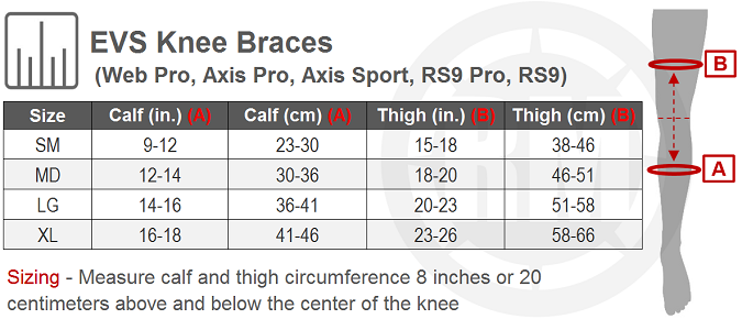 EVS Axis Sport Knee Brace Pair Size Chart