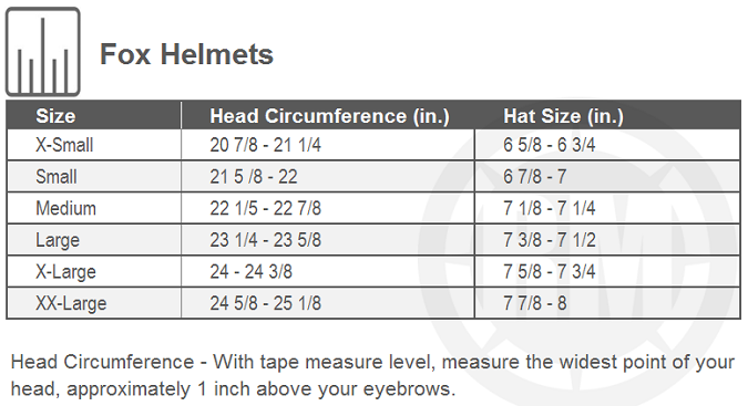 Fox Racing V3 Solids Helmet Size Chart