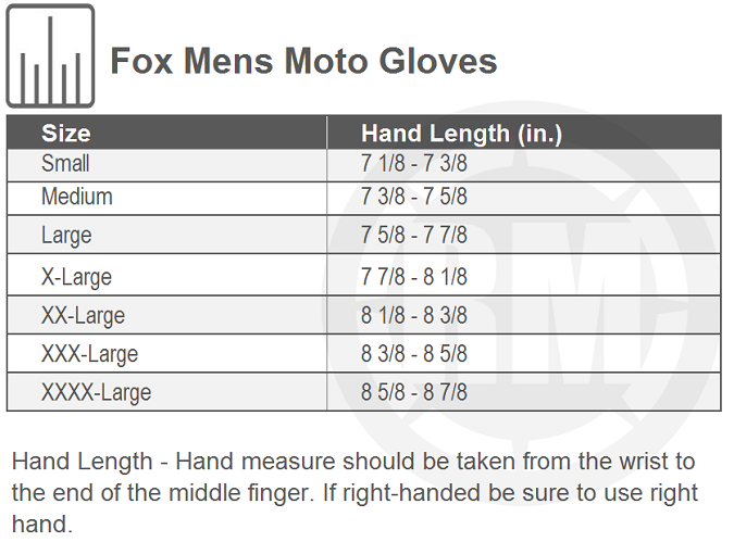 Fox Racing Airline Gloves Size Chart