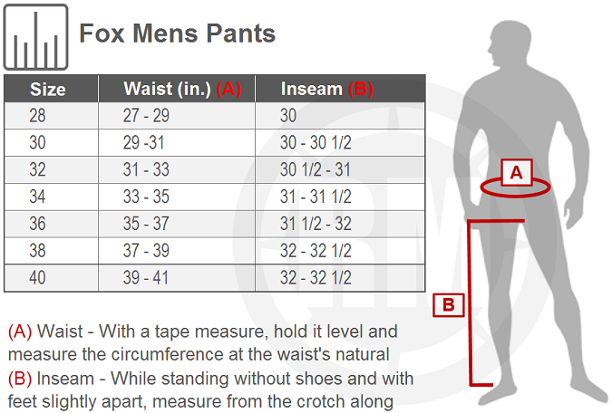Fox Racing Legion Pants Size Chart