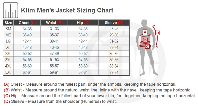KLIM Men's Motorcycle Jacket Size Charts