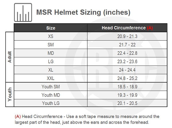 MSR Youth SC1 Grit Helmet Size Chart