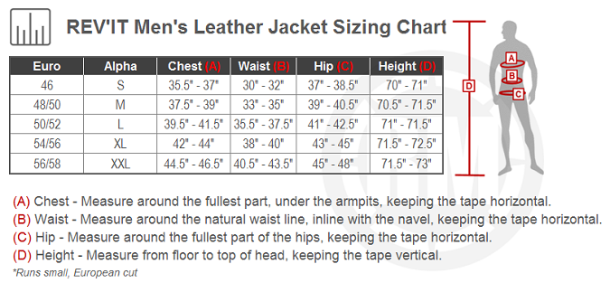 REV'IT! Nova Vintage Leather Jacket Size Chart