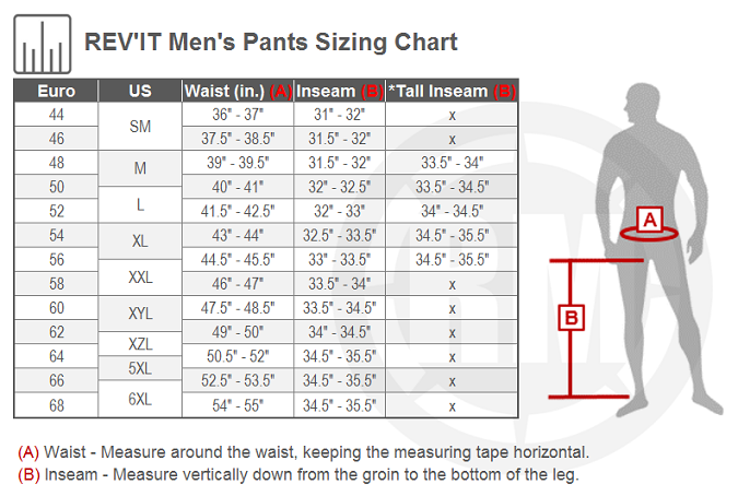 REV'IT! Offtrack Pants Size Chart