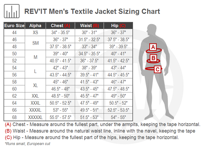 REV'IT! Safari 3 Jacket Size Chart