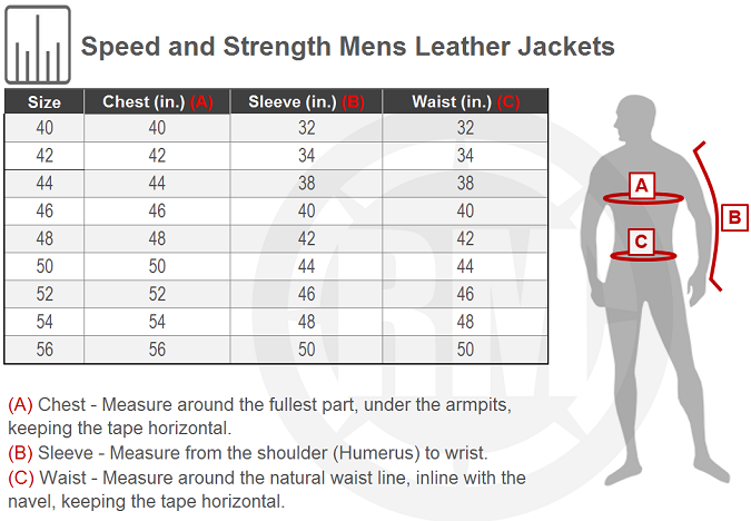 Leather jackets size chart