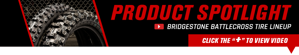 2 Bridgestone tires next to Product Spotlight text with a click the + to veiw video